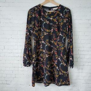 LOFT Dress Black Floral Long Sleeve Skater Fit 0